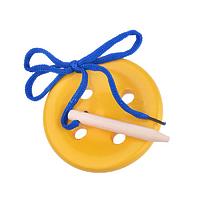 Развивающая игрушка «Шнуровка «Пуговица», 4 дырочки, окрашенная