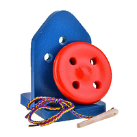 Развивающая игрушка «Шнуровка «Пуговица», 4 дырочки, на подставке, окрашенная