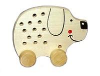 Развивающая игрушка «Шнуровка «Собачка», на колесиках, массив