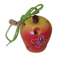 Развивающая игрушка «Шнуровка «Яблоко», расписная, лакированная