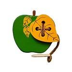 Развивающая игрушка «Шнуровка «Яблоко с листиком», окрашенная