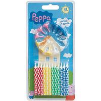 """Набор свечей для торта с держателем """"Peppa Pig"""", 24 шт"""