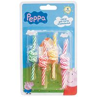 """Набор спиральных свечей для торта """"Peppa Pig"""", 4 шт"""